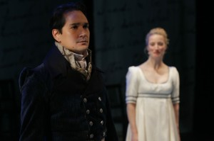 "Richard Nguyen Sloniker and Jen Taylor in ""Pride and Prejudice."" Photo by Chris Bennion."