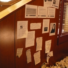 "Lobby display for ""One Flea Spare,"" CMU 2009. Dramaturgy and photo by Anthea Carns."
