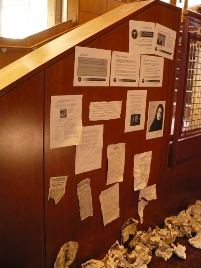 """Lobby display for """"One Flea Spare,"""" CMU 2009. Dramaturgy and photo by Anthea Carns."""