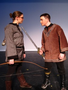 "ATY's ""The Hobbit."" Pictured: Naomi Muennich as Bard, Chris Cox as Maxwell. Director: Anthea Carns. Sets by Jessica L. Jacob. Costumes by Gabriel P. Clark. Lights by Kevin McClear. Photo by Anthea Carns."